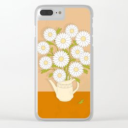 bouquet of white camomiles in the vase Clear iPhone Case