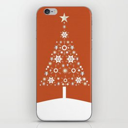 Christmas Tree Made Of Snowflakes On Orange Background  iPhone Skin