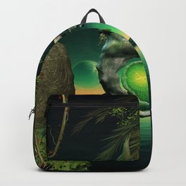 The flying rock with clock Backpack
