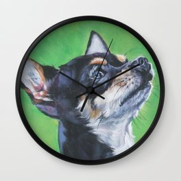 Chihuahua dog art portrait from an original painting by L.A.Shepard Wall Clock