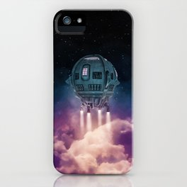 Out of the atmosphere / 3D render of spaceship rising above clouds iPhone Case