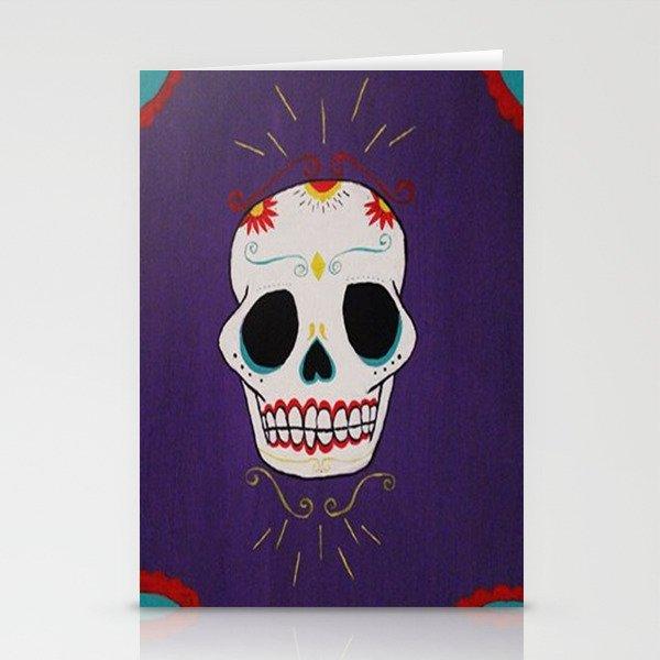 Azure Sugar Skull Stationery Cards