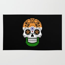 Sugar Skull with Roses and Flag of India Rug