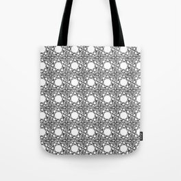 Black and White Woven Whirls Tote Bag