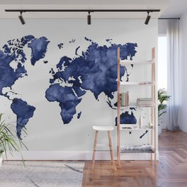 Dark navy blue watercolor world map Wall Mural