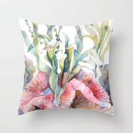White Calla Lily and Corals Seaweed Watercolor Surreal Botanical Underwater Throw Pillow