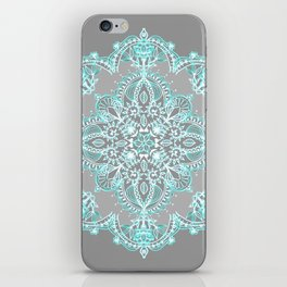Teal and Aqua Lace Mandala on Grey iPhone Skin