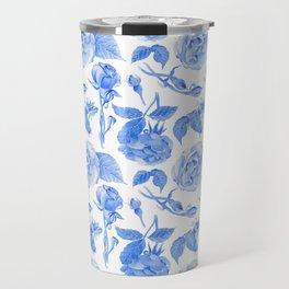 Blue Roses Watercolor Travel Mug