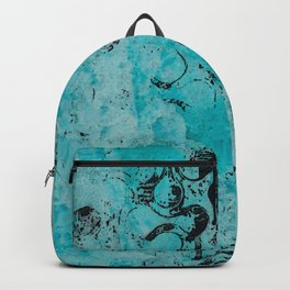 Turquoise Marble Stone with Black Ink overlay design Backpack