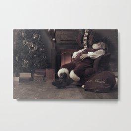 Santa Claus fast asleep after Christmas Metal Print