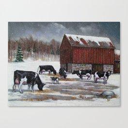 Holstein Dairy Cows in Snowy Barnyard; Winter Farm Scene No. 2 Canvas Print