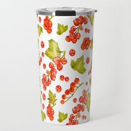 Red currant watercolor pattern Travel Mug