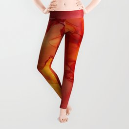 Red Sunset Abstract Ink Painting Red Orange Yellow Flame Leggings