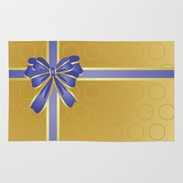 Gift wrapped in blue and gold Rug