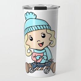 Girl Sledding On The Snow Travel Mug