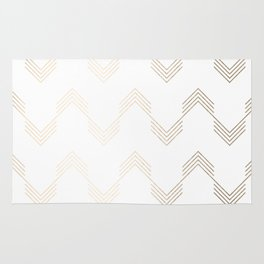 Simply Deconstructed Chevron White Gold Sands on White Rug