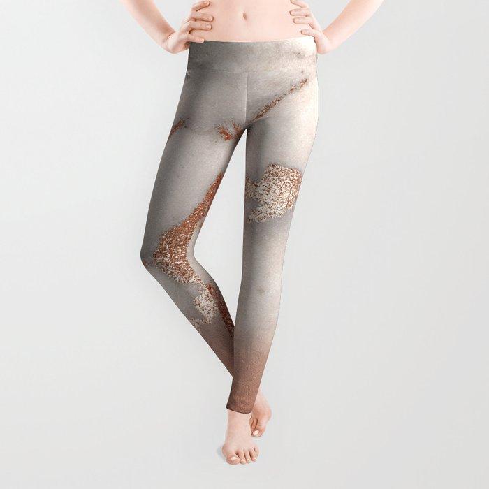 Shiny Copper Metal Foil Gold Ombre Bohemian Marble Leggings