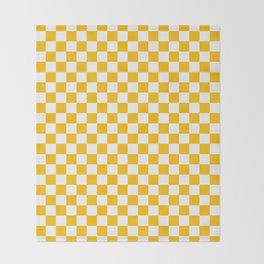 White and Amber Orange Checkerboard Throw Blanket