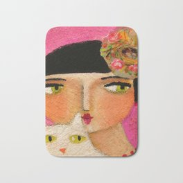 White Cat and Flapper girl pretty painting by Tascha Bath Mat