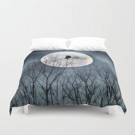 Night Raven Lit By The Full Moon Duvet Cover