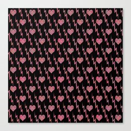 Festive background with sequined hearts on a black background. Canvas Print