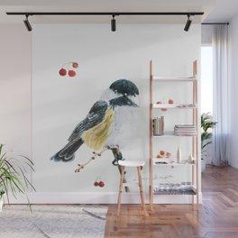 Christmas Chickadee by Teresa Thompson Wall Mural
