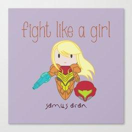 Fight Like a Girl - Samus Aran Canvas Print