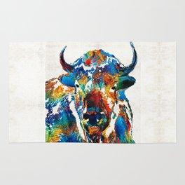 Colorful Buffalo Art - Sacred - By Sharon Cummings Rug
