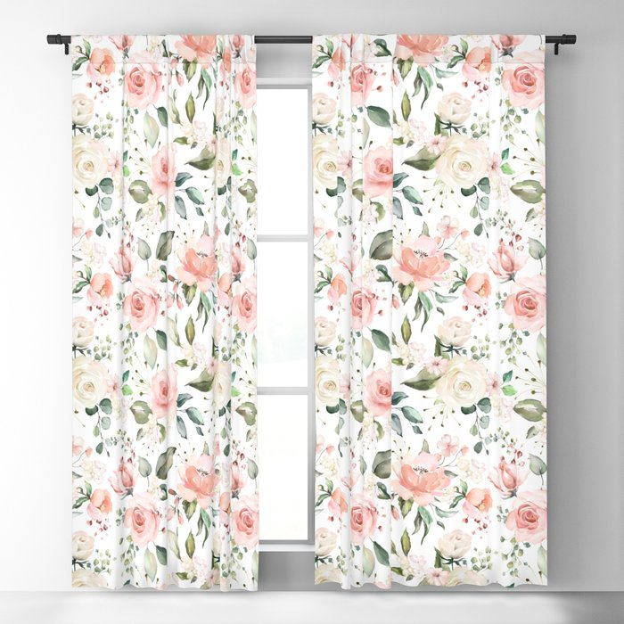 Sunny Floral Pastel Pink Watercolor Flower Pattern Blackout Curtain