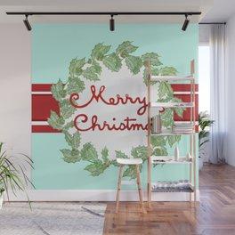 Merry Christmas striped wreath Wall Mural