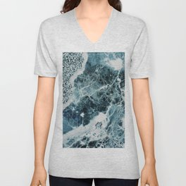 Blue Sea Marble Unisex V-Neck