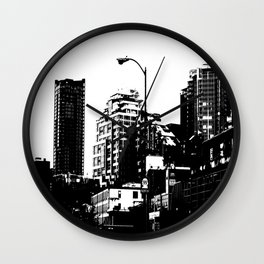 99 North in Black and White Wall Clock
