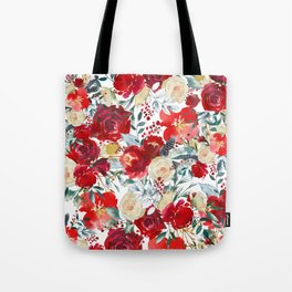 Red teal hand painted boho watercolor roses floral Tote Bag