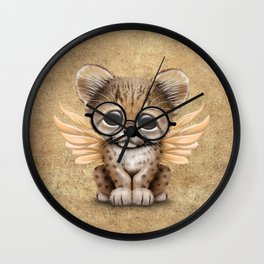 Cheetah Cub with Fairy Wings Wearing Glasses Wall Clock