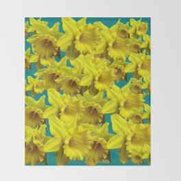 YELLOW SPRING DAFFODILS ON TEAL COLOR ART Throw Blanket