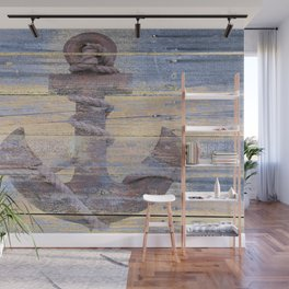 Rusty Anchor Grey Blue Beach Lake House Coastal Home Decor A177 Wall Mural