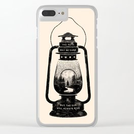 THE PATH MAY BE DARK BUT THE SUN WILL ALWAYS RISE Clear iPhone Case