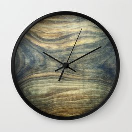 The young boy entrapped inside. Background wooden panel. Wall Clock