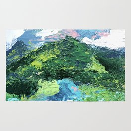 Gunnison: a vibrant acrylic mountain landscape in greens, blues, and a splash of pink Rug