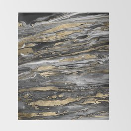 Stylish gold abstract marbleized paint Throw Blanket