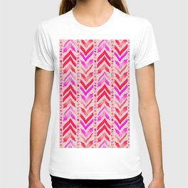 Tribal Scribble Kilim in Neon Coral + Neutral T-shirt