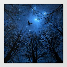 Wisdom Of The Night - Blue Canvas Print