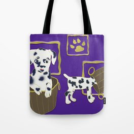 Purple puppy antics   Puppies at play Tote Bag