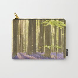Blooming bluebell forest of Hallerbos in Belgium in morning sunlight Carry-All Pouch