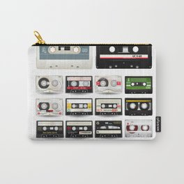 Collection of Retro Audio Cassette Tapes Carry-All Pouch