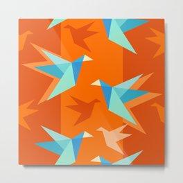 Orange Paper Cranes Metal Print