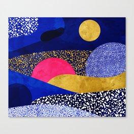Terrazzo galaxy blue night yellow gold pink Canvas Print