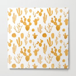 Golden cactus collection Metal Print
