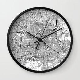 Houston White Map Wall Clock