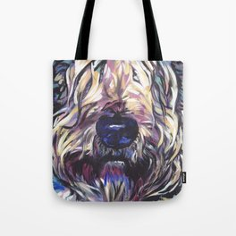 Wheaten Terrier Fun Dog Portrait bright colorful Pop Art Painting by LEA Tote Bag